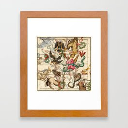 Hercules, Sagittarius, Delphinus, Scorpius, Caper, Lyra, Olor And Other Constellations Framed Art Print