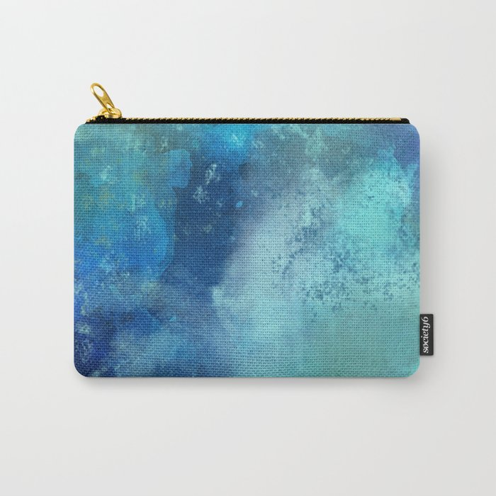 Abstract navy blue teal turquoise watercolor pattern Carry-All Pouch