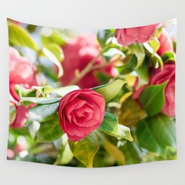 Red Camellia Flowers Pattern Wall Tapestry