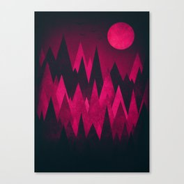 Dark Triangles (Peak Woods) Abstract Grunge Mountains Design (red/black) Canvas Print