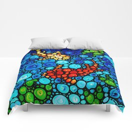 Pure Koi Joi - Mosaic Fish Art Painting by Sharon Cummings Comforters