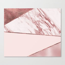 Spliced mixed pinks rose gold marble Canvas Print