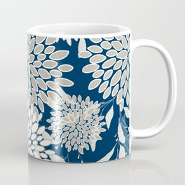 Festive, Floral Leaves and Blooms, Blue and Gray Coffee Mug