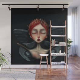 unseelie court Faerie queen death moth gothic background red hair and laurel crown in gold Wall Mural