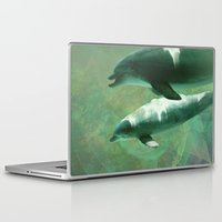 dolphins Laptop & iPad Skins featuring Two Dolphins by Roger Wedegis