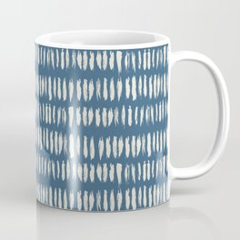 Linen White & Blue Bold Grunge Vertical Stripe Dash Line Pattern Inspired by 2020 Color of the Year Coffee Mug