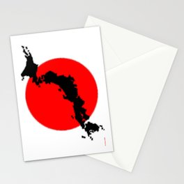 Japan Map with Japanese Flag Stationery Cards