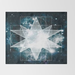 Sacred Geometry : Teal Galaxy Throw Blanket
