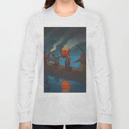 Beautiful Vintage Japanese Woodblock Print Japanese Fisherman Flame Torch Long Sleeve T-shirt