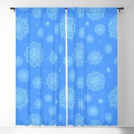 Feathered Mandala Pattern - Blue Blackout Curtain