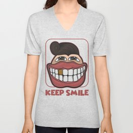 KEEP SMILE Unisex V-Neck