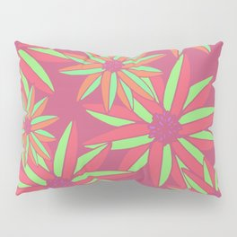 Pink and Green Small Bright Flowers Digital Pattern Pillow Sham