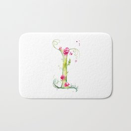 Letter I watercolor - Watercolor Monogram - Watercolor typography - Floral lettering Bath Mat