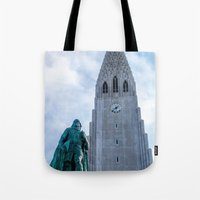 iron giant Tote Bags featuring Járn Risastór (Iron Giant) by Alex Tonetti Photography