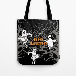 Happy Halloween Monsters with Trees and spider web Tote Bag