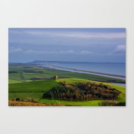 St Catherines Chapel and Chesil Beach Canvas Print