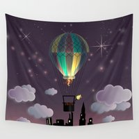 ballon Wall Tapestries featuring Balloon Aeronautics Night by DipWeb