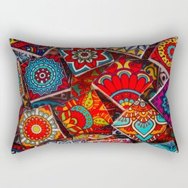 V1 Traditional Moroccan Colored Stones. Rectangular Pillow