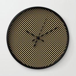 Black and Lemon Drop Polka Dots Wall Clock