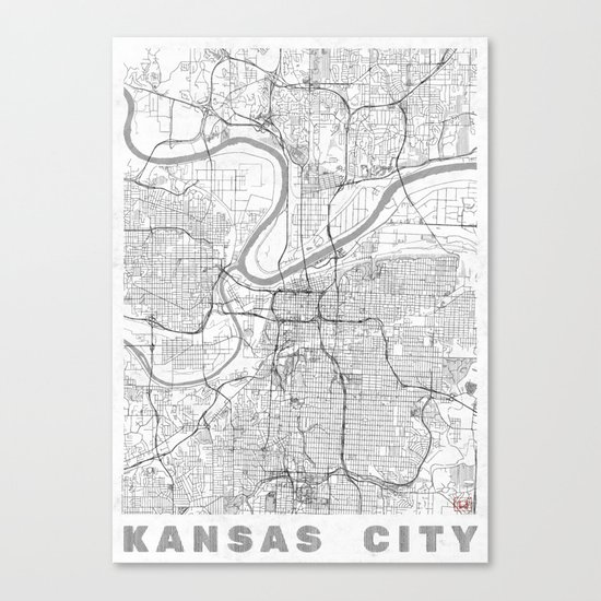 Kansas City Map Line Canvas Print