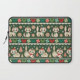 Striped Gingerbread Kitties (Green) Laptop Sleeve