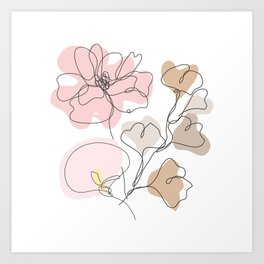 Poppy Calla Gingko Art Print