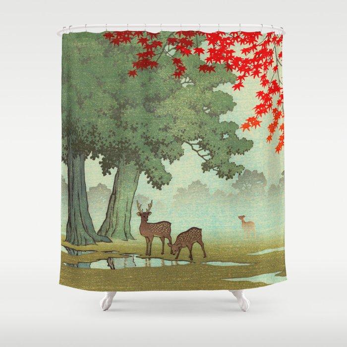 Vintage Japanese Woodblock Print Nara Park Deers Green Trees Red Japanese Maple Tree Shower Curtain