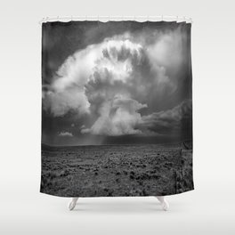 Take a Deep Breath - Storm Cloud Explodes on Horizon in Oklahoma Panhandle in Black and White Shower Curtain