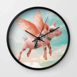 Little Pig can Fly Wall Clock