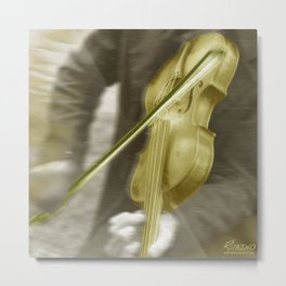 Golden Violin Metal Print