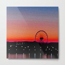 Navy Pier Sunset Metal Print