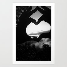 Heart Hands Black & White Art Print