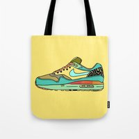 nike Tote Bags featuring nike 001 by Marcelo Romero