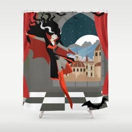 vampire woman monster flying Shower Curtain