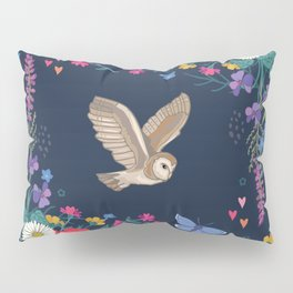 Owl and Wildflowers Pillow Sham