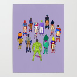 Superhero Butts - Power Couple on Violet Poster