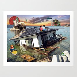 Beyond the Sea - Spirited Away / Ponyo Tsunami Series Art Print