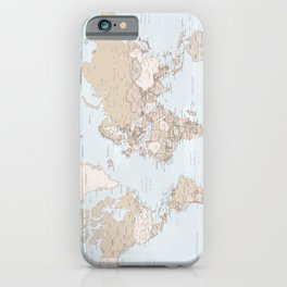 Blue and brown detailed world map, Renisha iPhone Case