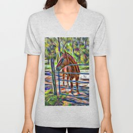 Abstract horse standing at gate Unisex V-Neck