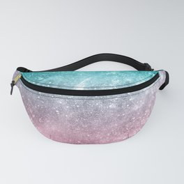 Sea pink viridian green ombre abstract galaxy Fanny Pack