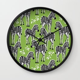 zebras on greenery Wall Clock