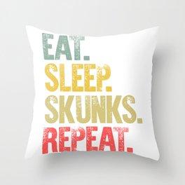 Eat Sleep Repeat Shirt Eat Sleep Skunks Repeat Funny Gift Throw Pillow