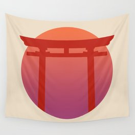 Red Japanese Torri Gate - Sunset - Zen - Japanese Minimal - Religious Gate - Calm  Wall Tapestry