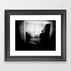 troubling boy in hunter's cap Framed Art Print