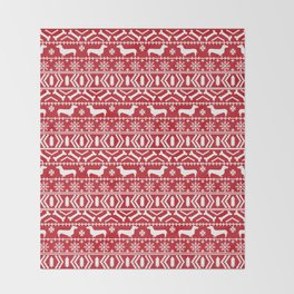 Dachshund doxie fair isle christmas sweater festive red and white holiday dog lover gifts Throw Blanket