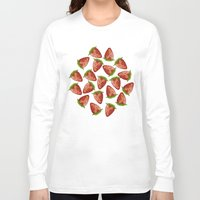 strawberry Long Sleeve T-shirts featuring Strawberry by Julia Badeeva