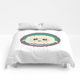 Cute Sheep with purple Circle Comforters