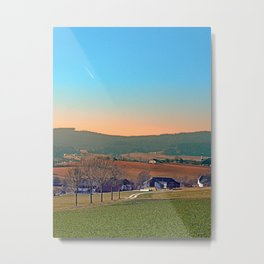 Avenue with trees, sunset and panorama | landscape photography Metal Print