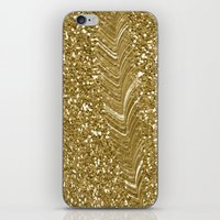 gold glitter iPhone & iPod Skins featuring GLITTER GOLD by isoncaDesign