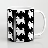 westie Mugs featuring Westie Dog Pattern by Antique Images